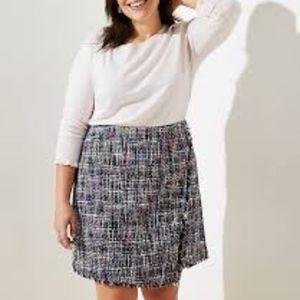 NEW Loft Plus Tweed Wrap Skirt